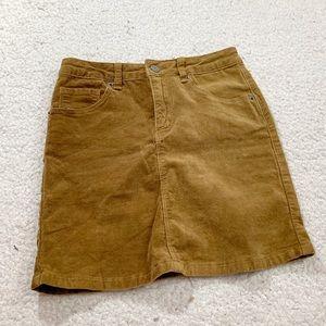 Brandy Melville brown corduroy mini skirt button